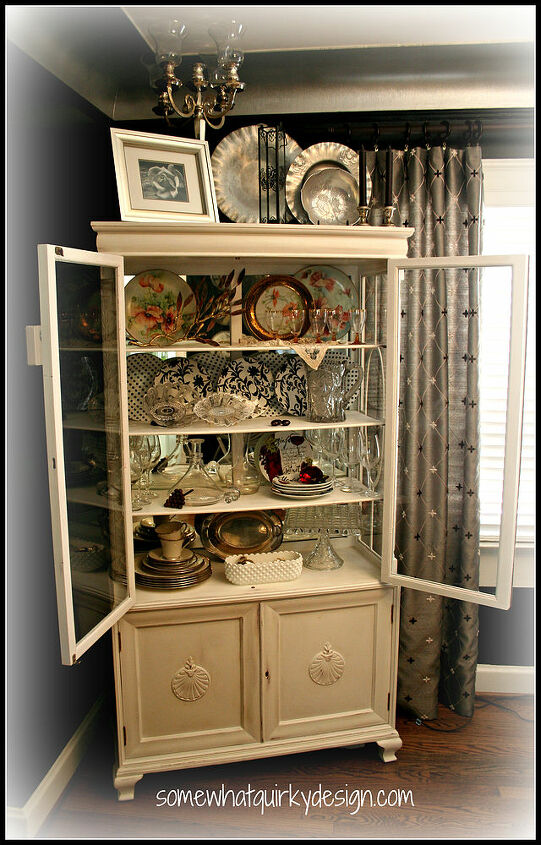 after countless hours of work i finally finished making over my china cabinet, kitchen cabinets, painting