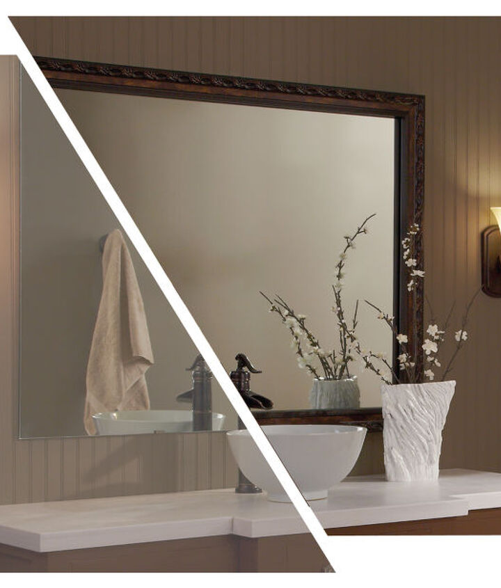 MirrorMate's Acadia frame added to a plate glass mirror. Photo styled by blogger Emily A Clark.