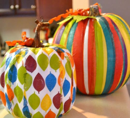 pumpkins decoupaged with decorative napkins, seasonal holiday d cor, Pumpkins decoupaged with ModPodge and decorative napkins