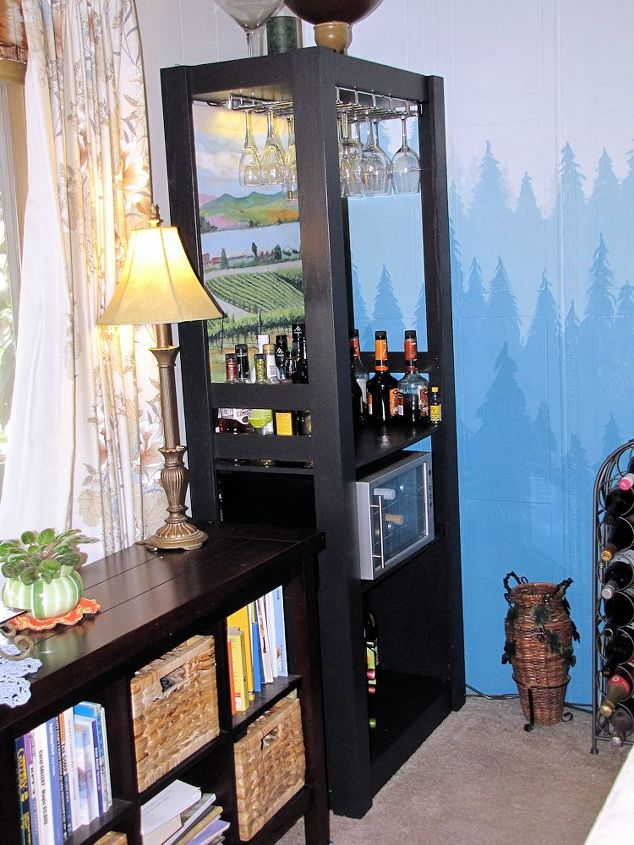 recycled bookshelf into a bar, painted furniture, repurposing upcycling, shelving ideas