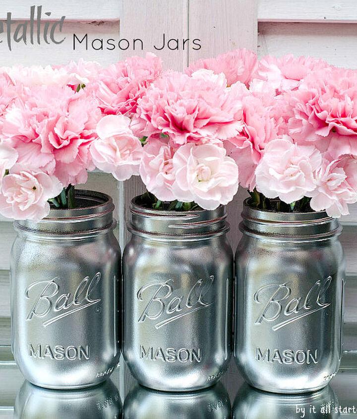 I used Valspar's shiny metallic silver spray paint to give my mason jars a metallic look