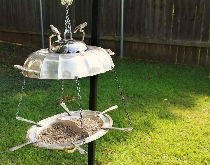 Repurposed Twin Bird Silverplate Platters Bird Feeder by GadgetSponge.com