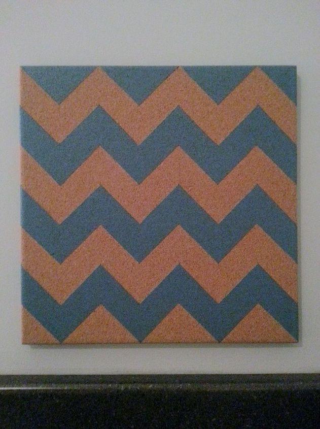 diy chevron corkboard, crafts