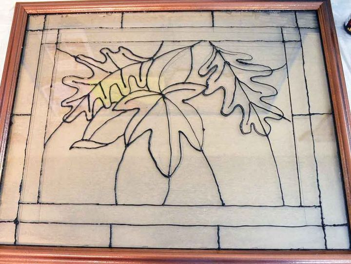 faux stained glass fall leaves, crafts