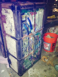 q how would you clean remove paint this cloth on a steamer trunk, cleaning tips, painting