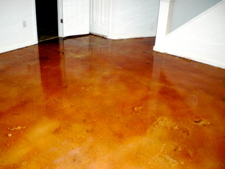 Here is what a base light brown stain looks like when highlighted with Terracotta.  It brought out the red hues in the floor.  Like it? How about a thumbs up?