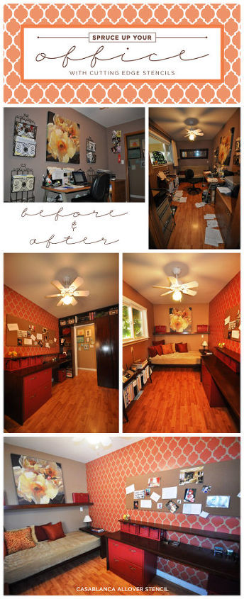 Cutting Edge Stencils shares a stenciled home office makeover using the Casablanca Allover Stencil.