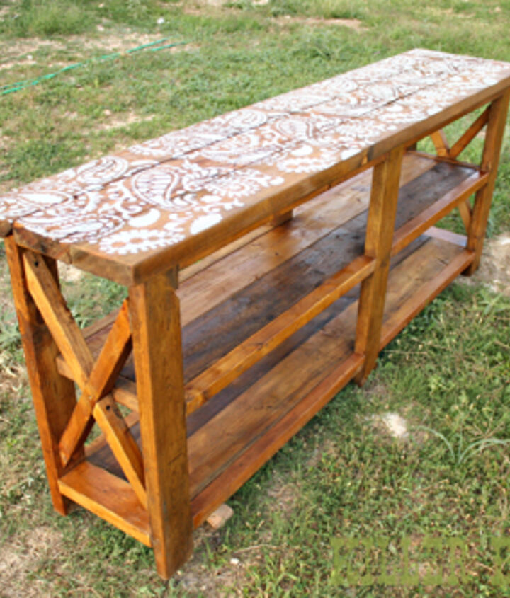 reclaimed stenciled rustic x console, diy, painted furniture, repurposing upcycling, rustic furniture, woodworking projects