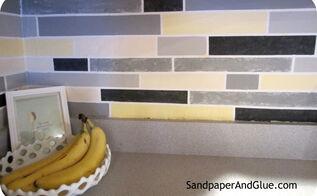 diy faux tile backsplash, kitchen backsplash, kitchen design, painting, the finished product up close