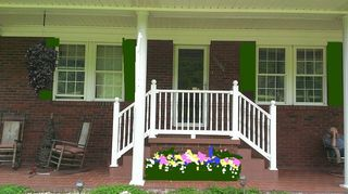 q help with curb appeal unsure what color to paint shutters door etc, curb appeal, painting, I am not good at this but you get the idea Also you hanging basket disappears go for color lots of color Replace the chair pads with something colorful too Have fun