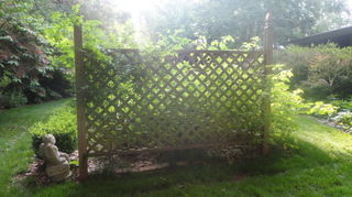 how to build a wire trellis for vertical gardening, diy, gardening, how to, this is the back of the trellis the latice sheet is nailed between 2 parallel 2x4 s with a finial top and cross bars at the top and bottom of the latice sheet