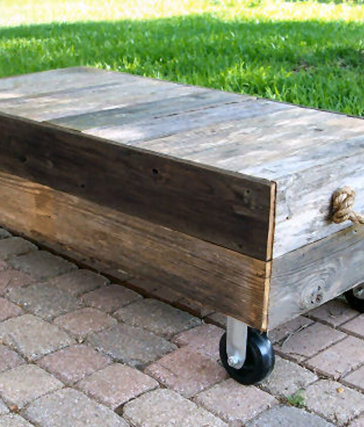 Rustic coffee table made of aged cedar fence boards.