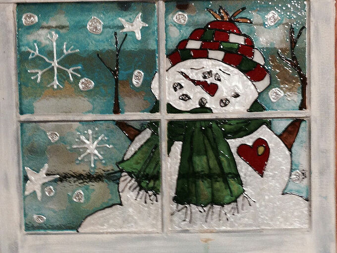 snowman painted in stain glass paint on old window, crafts, painting, repurposing upcycling, Stain glass paint on old window