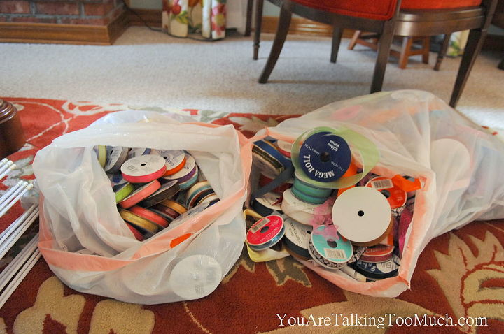 Takes this unorganized mess to a neat and tidy and organized way to store my craft ribbon! http://youaretalkingtoomuch.com/2012/11/ribbon-organizers/