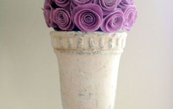 Burlap Spiral Flowers Easter Egg Topiary