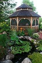 gazebos and ponds some things just go together, gardening, outdoor living, ponds water features, This gazebo has night lighting for long evenings by the pond