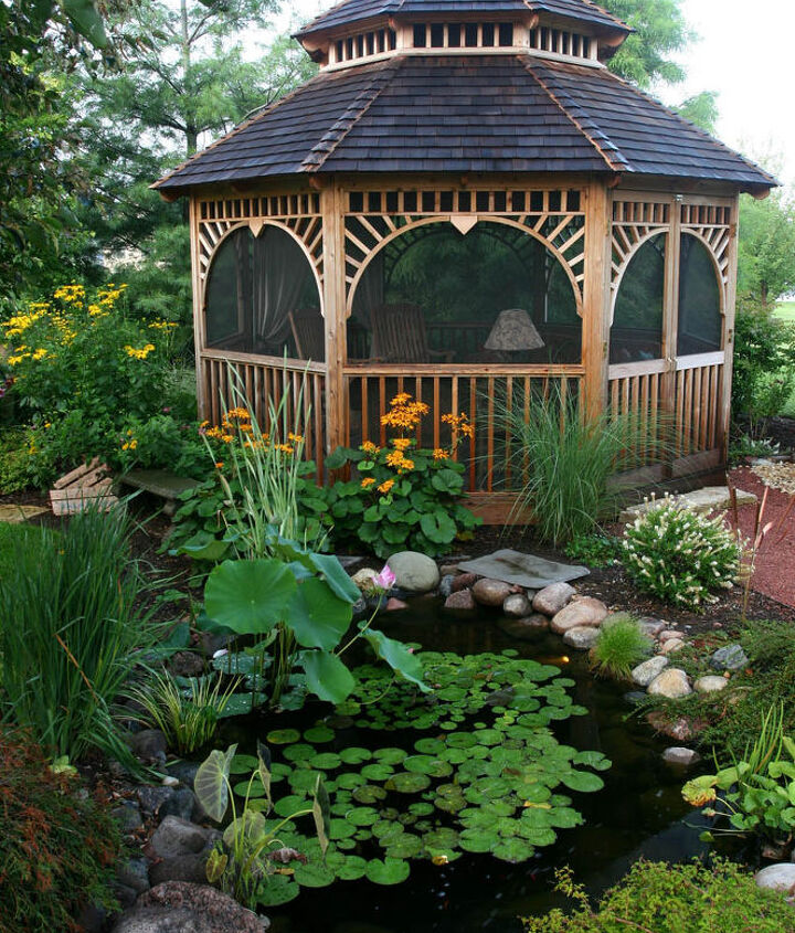This gazebo has night lighting for long evenings by the pond.