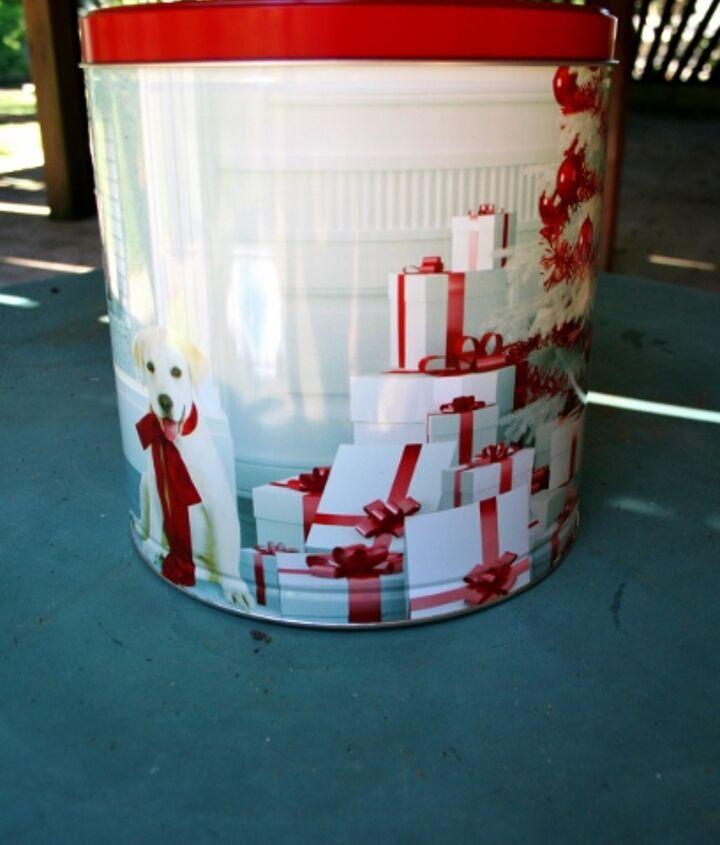 Stop! Don't throw away that old Christmas popcorn tin!