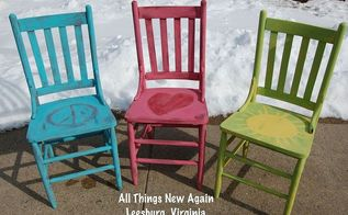 happy garden chairs for spring, painted furniture, Happy Garden Chairs painted with fun colors from American Paint Company at All Things New Again Leesburg VA