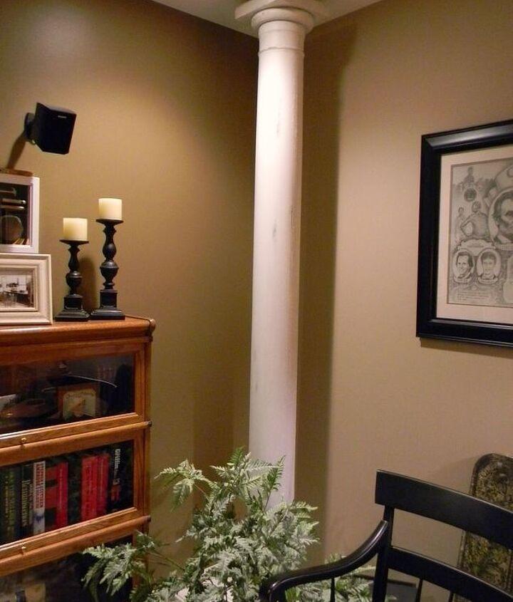 One column in the basement media room