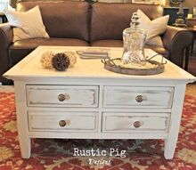 cottage style coffee table, painted furniture, rustic furniture, The table got new knobs