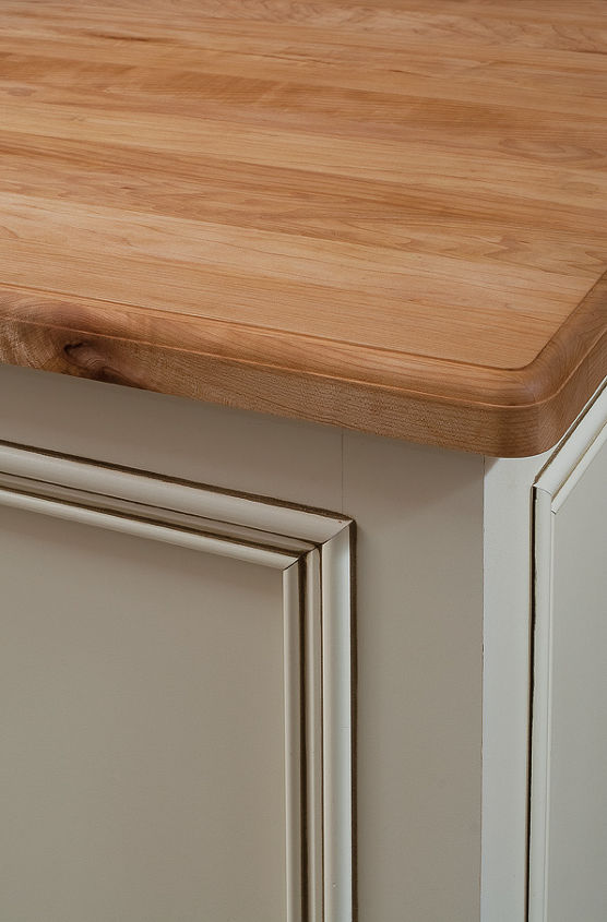 AFTER - island detail, maple butcher block.. no cutting boards needed!