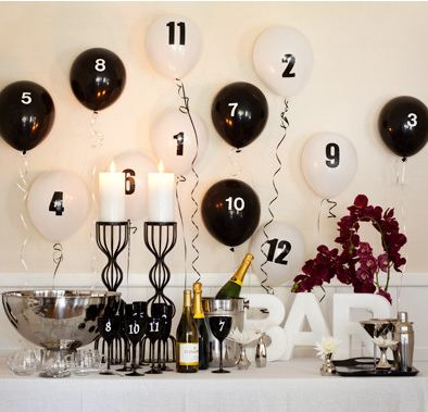 Countdown: 3, 2, 1! Set the scene for the big moment by transforming a folding table into a dramatic black-and-white bar. Customize stemware, as well as the balloons with peel-and-stick numbers. (Easy to keep track of your glass)!