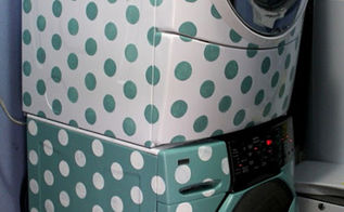 stenciling a washer dryer set with polka dots, appliances, laundry rooms, painting, finished stenciled washer dryer set