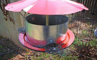 repurposed upcycled galvanized vent exhaust hood bird feeder, repurposing upcycling, Repurposed Vent Hood Bird Feeder by GadgetSponge com