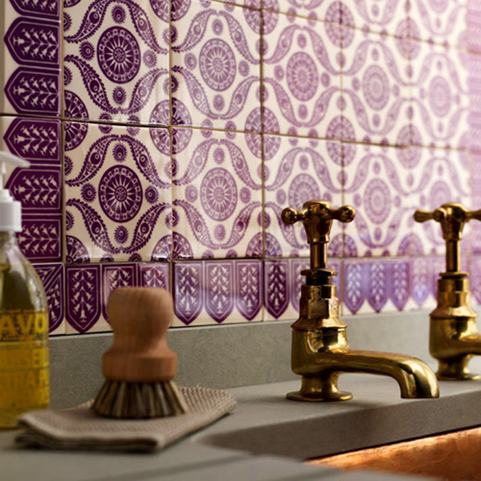 Purple Moroccan Tile In A Creative Way To Add The Bathroom Without Paint
