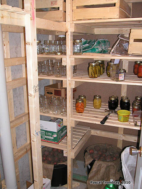 Cold Room shelves to store canning. See how to build it: http://www.usa-gardening.com/cold-storage/cold-storage-room.html
