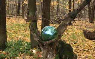 lighted gazing ball mounted in an old log instructions included, gardening, lighting, All finished Now my Fairyball is green until I can find the perfect replacement color