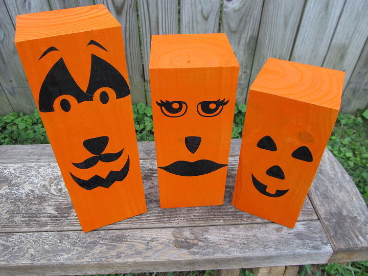 I painted some orange for jack-o-lanterns. I used vinyl faces, but you could easily paint on their features.