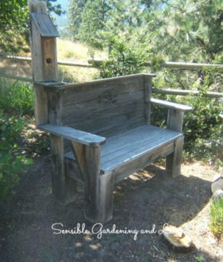 Wooden Bench with built in bird house - http://sensiblegardening.com/