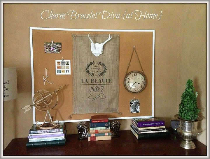 Repurposed bulletin board serves as a central display area.