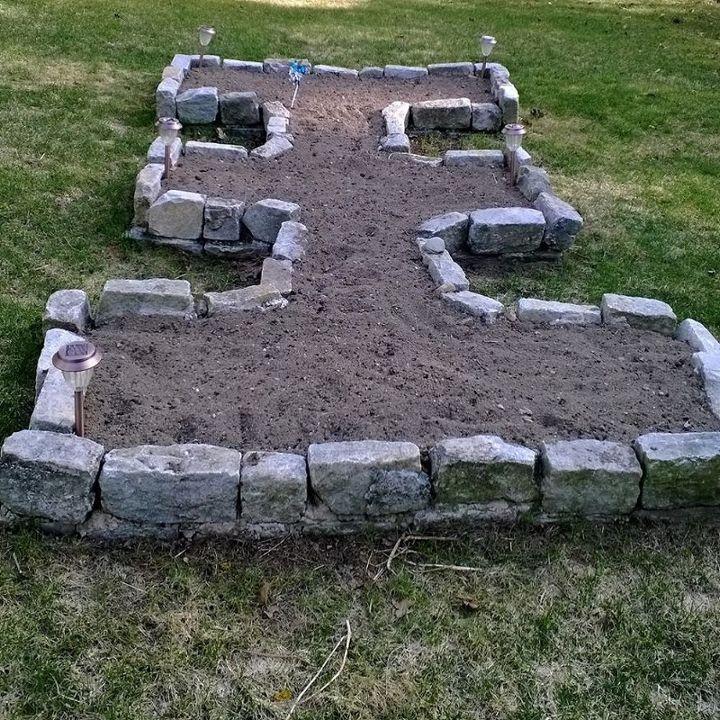 my little cobblestone raised garden bed, diy, gardening, landscape, raised garden beds