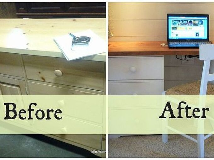 dresser to desk transformation, painted furniture