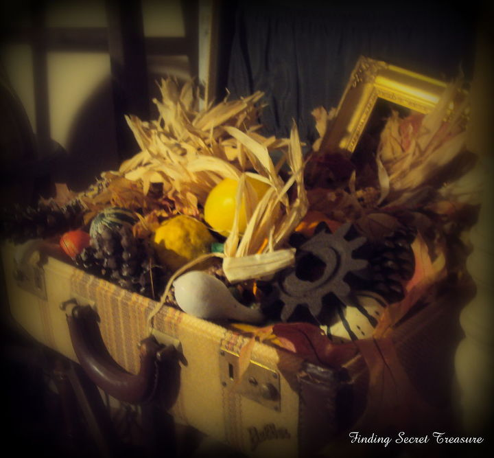 fall in a vintage suitcase, repurposing upcycling, seasonal holiday decor