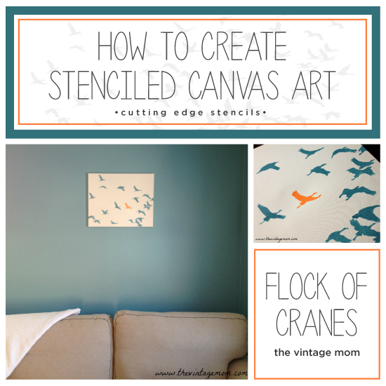 how to create stenciled canvas art, crafts, painted furniture, Learn how to create DIY stenciled canvas wall art using the Flock of Cranes Stencil
