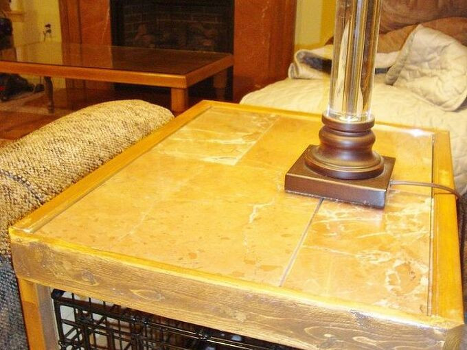 dog crate enclosure, diy, repurposing upcycling, woodworking projects, finished product tile matches family room table fireplace crate doubles as end table
