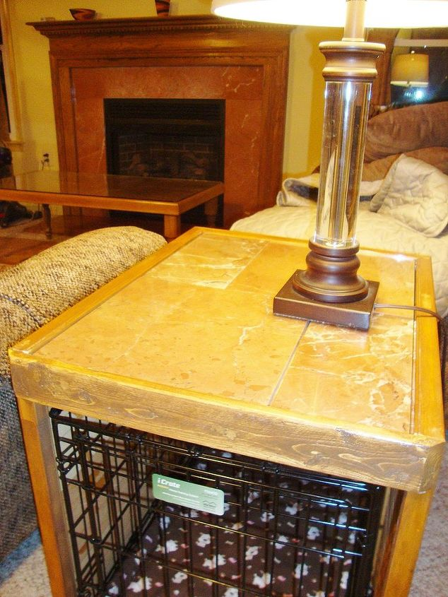 finished product.. tile matches family room table & fireplace & crate doubles as end table