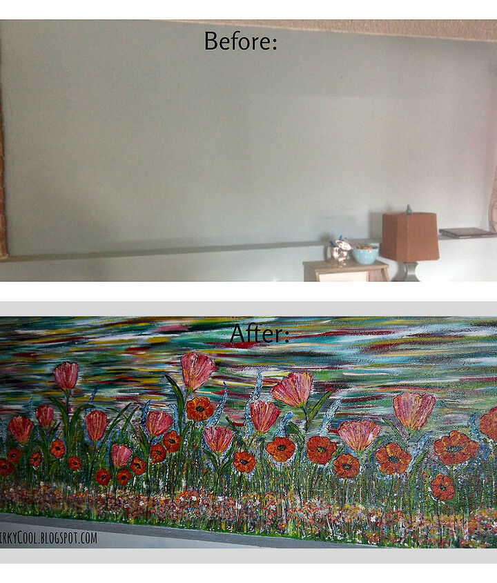 A hand painted wall mural for a dark basement and little girls play area/homework station