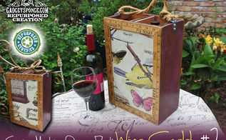 wine caddy made by repurposing sewing machine drawer racks, repurposing upcycling, I created this repurposed wine caddy with some different artistic fabric on both sides surrounded by vintage yardsticks and a lot of custom woodwork by GadgetSponge com