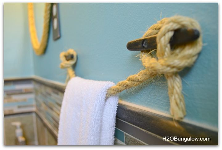 diy nautical rope towel holder, bathroom ideas, home decor, repurposing upcycling