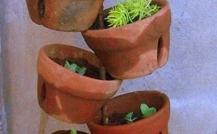 diy terra cotta pot collage, gardening, succulents, just stack them all up transplant your greens or blooms and it s ready for the yard