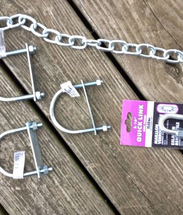Here is the hardware you need. 3 two inch U-bolts, 3 four and a half foot long pieces of chain and a quick connect.