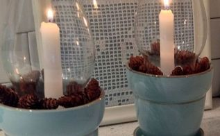 glass chimney candle holders, christmas decorations, repurposing upcycling, seasonal holiday decor, Remove pinecones and add other embellishments like sea shells in the summer and small ornaments for Christmas