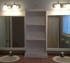 large bathroom mirror redo to double framed mirrors and cabinet bathroom ideas home decor danielle fraser