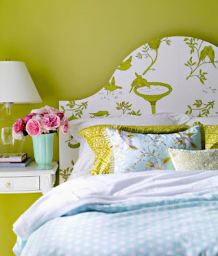 Add some pop to your bedroom and wallpaper over an old headboard you found at the thrift store!