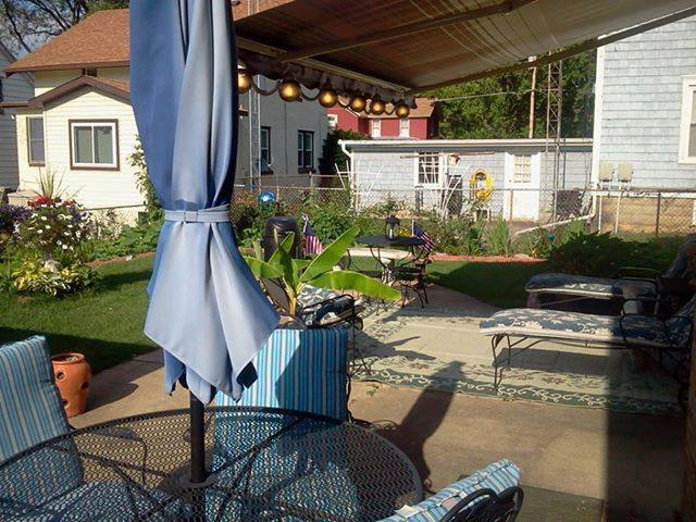 I had no place to set in an shade in my backyard, so I had a Sunsetter retractable awning installed with patio lights.